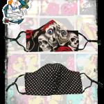 Fifi's Rockabilly MEDIUM Reversible, Adjustable skull & roses/ black polka dot  face mask