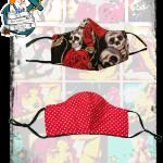 Fifi's Rockabilly Reversible, Adjustable reusable skulls/ polka dot mask