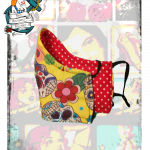 Fifi's Rockabilly  Reversible, Adjustable yellow sugar skulls face mask
