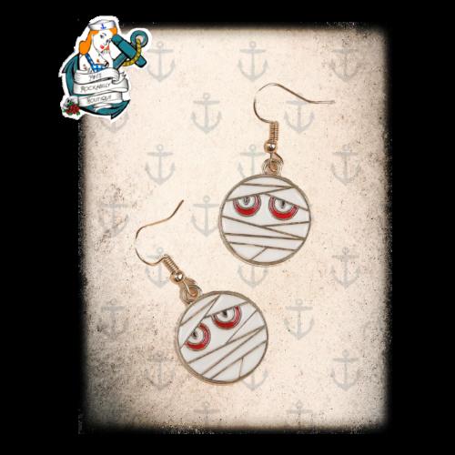 cartoon horror earrings ( 2 styles mummy & corpse bride)