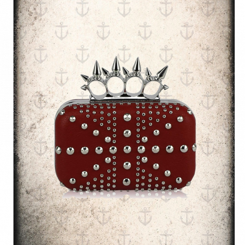 punk style knuckle clutch bag 3 colours ( Cream, grey and red)