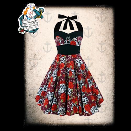 Rockabilly 50's style skull print halterneck dress