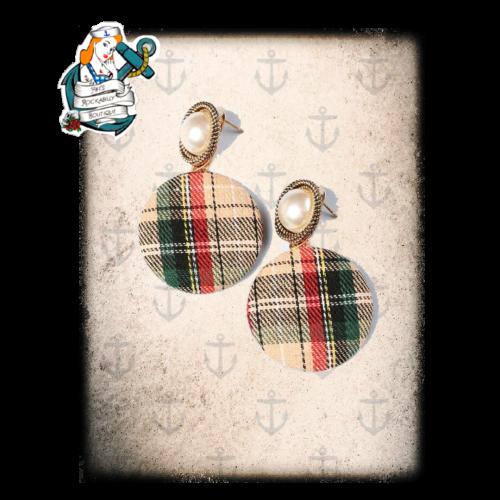 50s style tartan pearl earrings ( 2 styles)