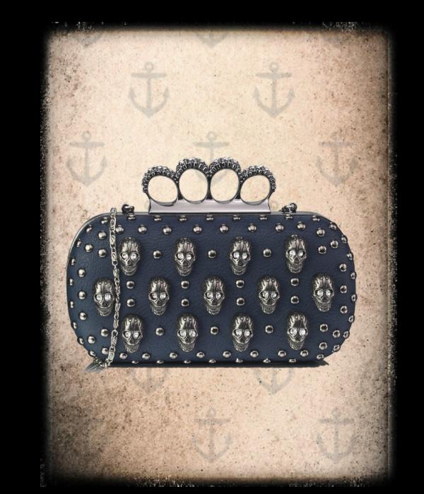 diamante skull  eyes adorned navy clutch