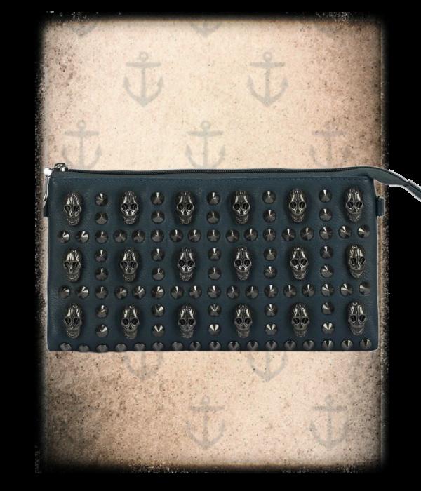 skull motif purse 4 colours (blue, brown, grey & nude)
