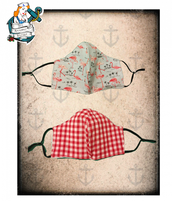 Fifis Rockabilly gingham & flamingo Reversible face mask with filter