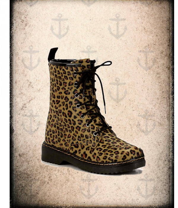 Rockabilly leopard print iconic lace up boots