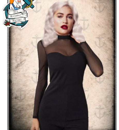 Fifi's Rockabilly mesh neckline jumpsuit