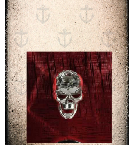 Red skull metallic effect bag with crystal look skull