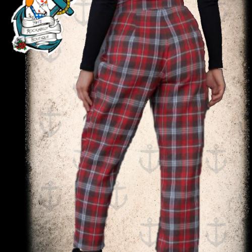Fifi's Rockabilly Tartan pearl button  trousers
