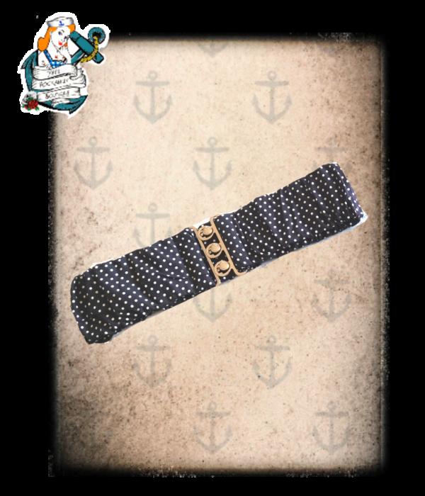"Fifi's rockabilly ""polka pinup"" navy rockabilly belt S"