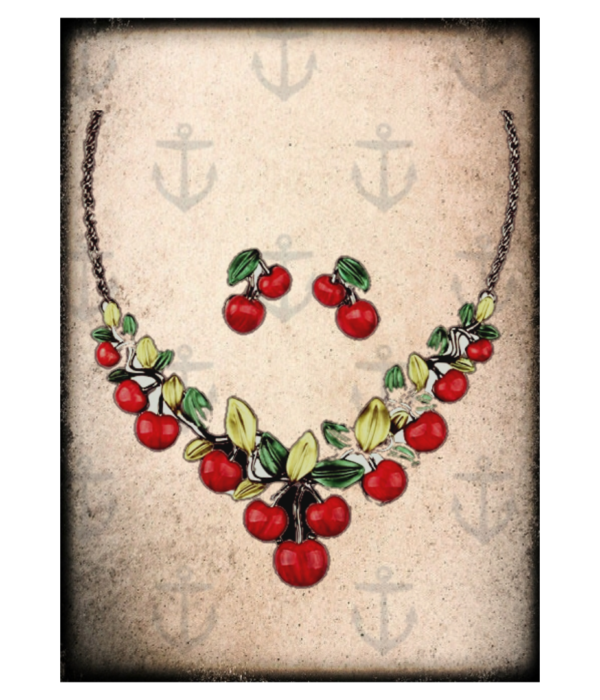 Cherry pinup earrings & necklace